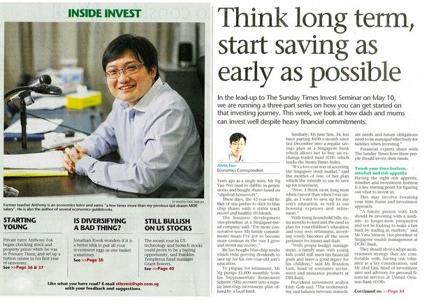 Media Coverage on JC Economics Tutor. Source: The Sunday Times Newspaper, Invest Section, 27 April 2014