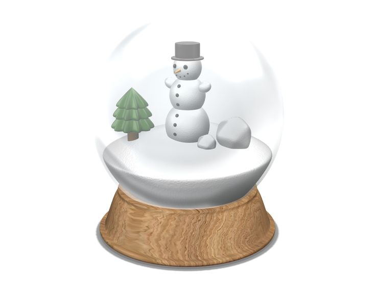 A 3D model of snowglobe created with VECTARY - the free online 3D modeling tool #3Dprinting