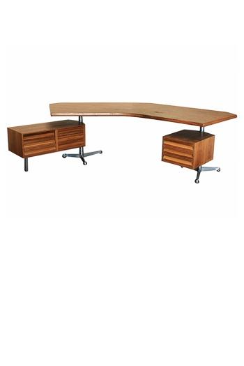rare tecno forme libre desk in walnut by osvaldo borsani italy c 1970s - Herman Miller Tischsysteme