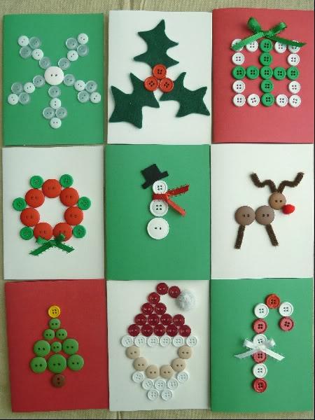 Selbstgemacht winterliche Postkarten - mit Knöpfen. Einfach, aber genial :)