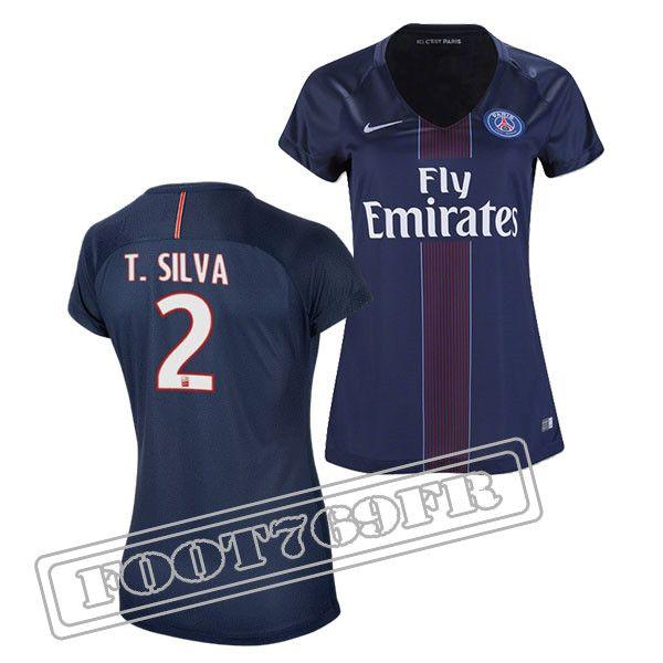 Promo Maillot Du T Silva 2 PSG Femme Bleu Marine 16/17 Domicile : Ligue 1