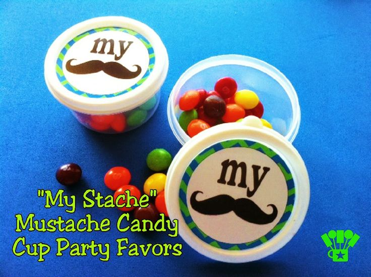 """""""My Stache"""" Mustache Candy Cup Party Favors"""