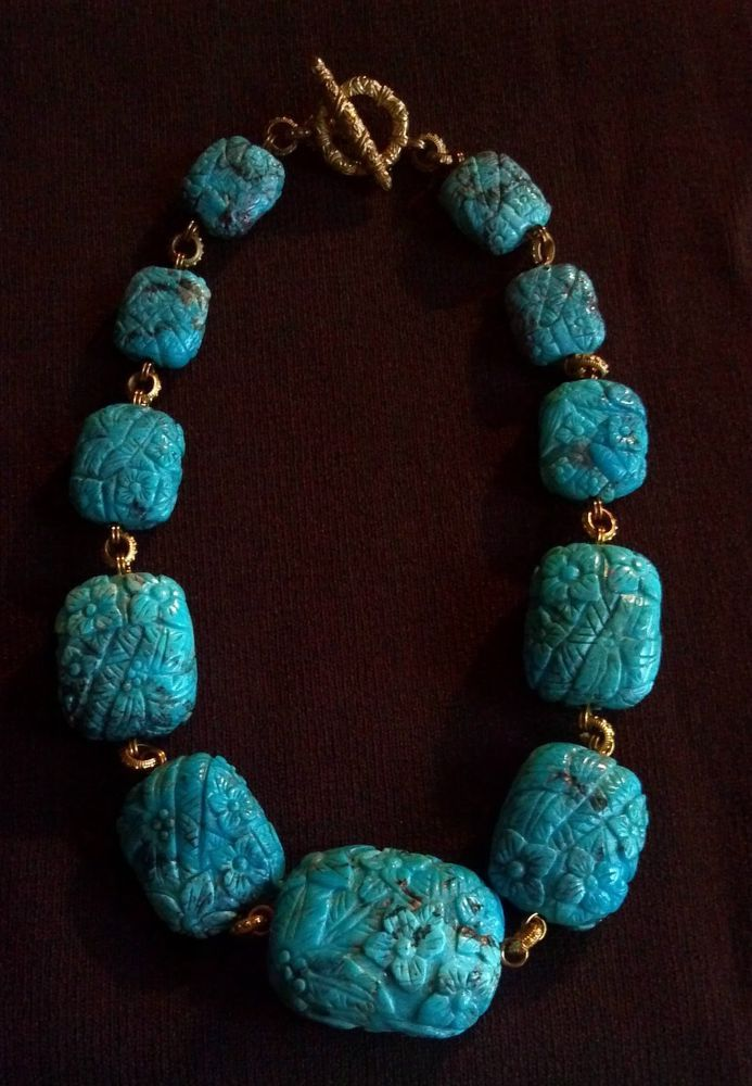 Stephen Dweck Natural Turquoise Graduated Necklace #StephenDweck #GraduatedStones