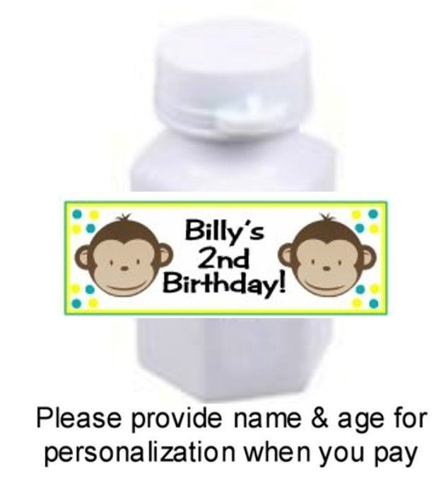 30 Boy Mod Monkey Birthday Party Or Baby Shower Mini Bubbles Stickers Blue