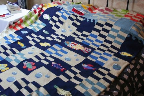 Fish blanket, inspired by Fish Festival print by artist Seb West.