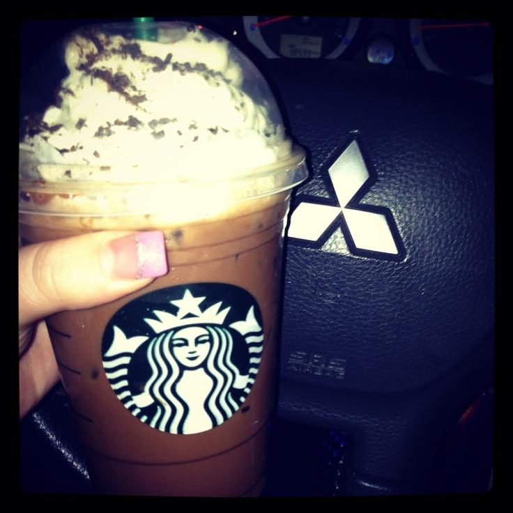 Starbucks in the car #misubishi #coffee   Food & Drink♡   Pinterest