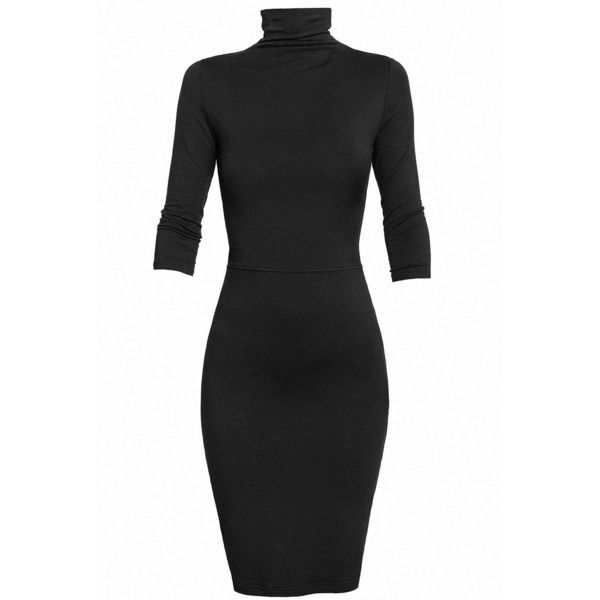 Undress - Black Turtleneck Jersey Dress (£115) ❤ liked on Polyvore featuring dresses, form fitted dresses, turtleneck top, evening dresses, holiday turtleneck and turtleneck dress