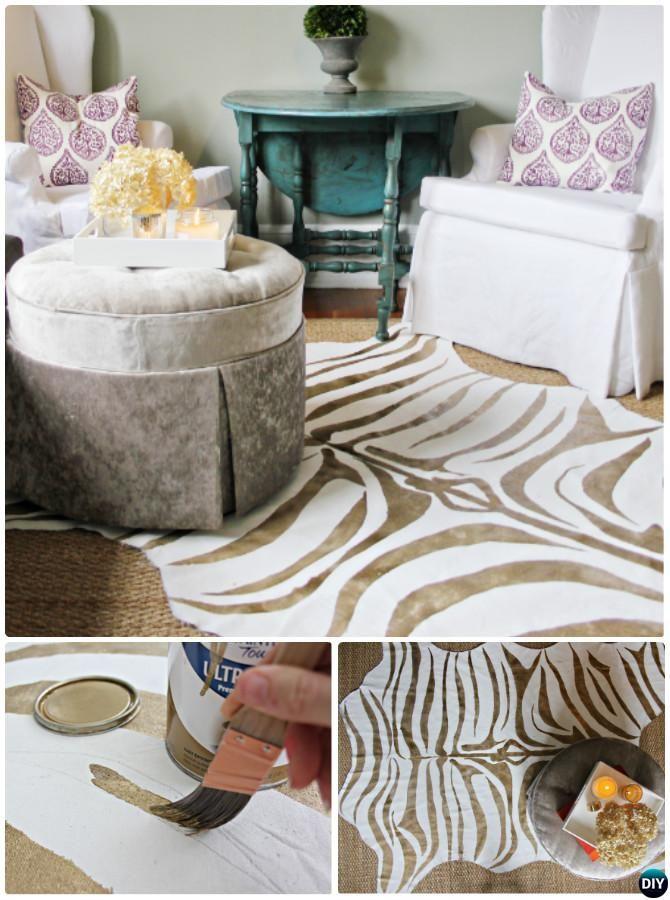 DIY Metallic Gold Zebra Print Rug Instruction-20 No Crochet DIY Rug Ideas Projects