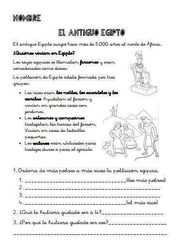 Egipto. Proyecto-Dosier actividades para imprimir.