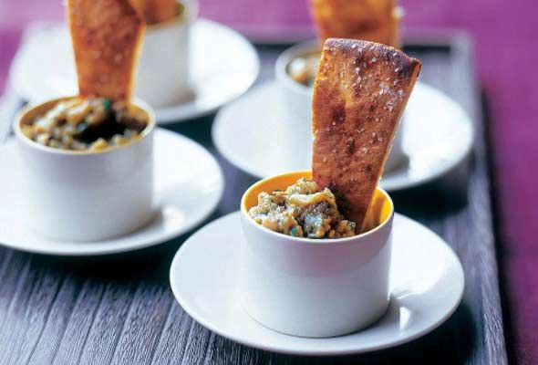 Roasted Eggplant Dip with Spiced Pita Crisps from Leite's Culinaria