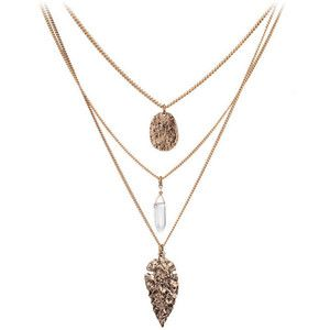 Three Layers Metal Charms Long Necklace