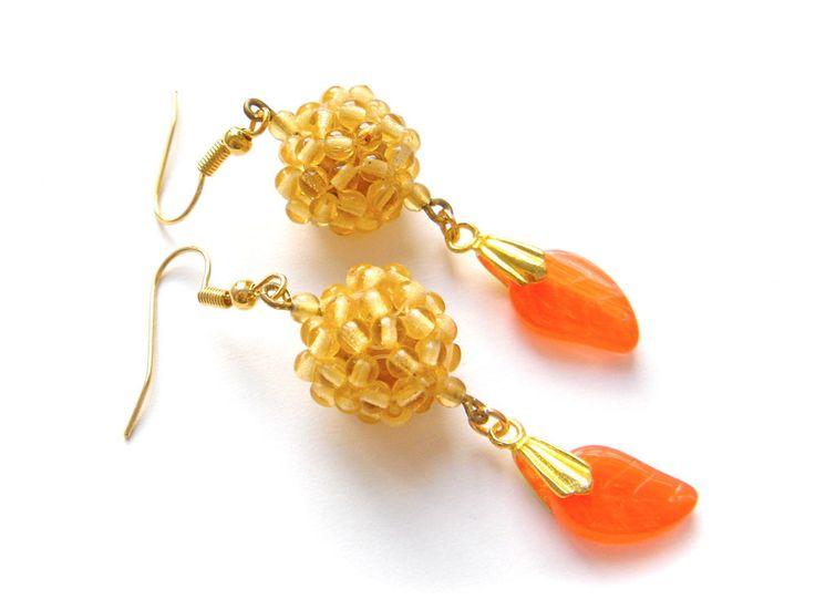 Vintage Czech Glass Earrings Drop Dangle Hook Gold Tone ORANGE BEIGE Long Leaf #Unbranded #DropDangle