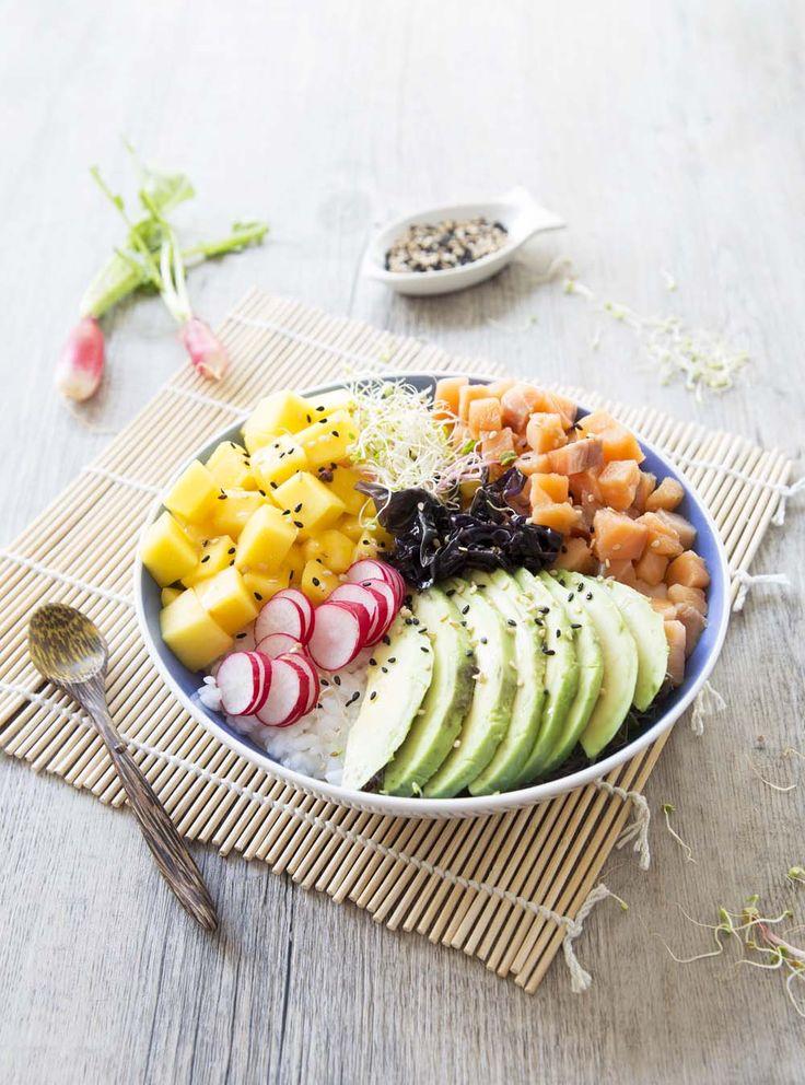 Poke bowl au saumon, la recette d'Ôdélices : retrouvez les ingrédients, la préparation, des recettes similaires et des photos qui donnent envie !