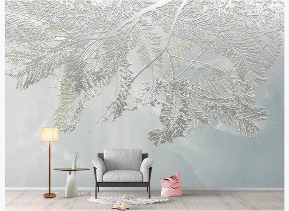Simple Modern 3d Tree Branches With Leaves Wallpaper Wall Etsy Wallpaper Living Room Tree Wallpaper Living Room Mural Wallpaper