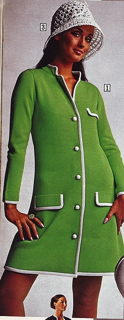 Green knit coat-dress with white trim, Sears catalog, American, 1970.