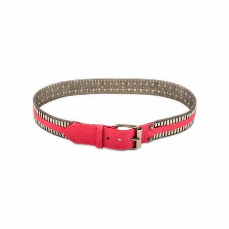 Belt With brass mesh, double box chain and reptile print leather rubber effect insert.