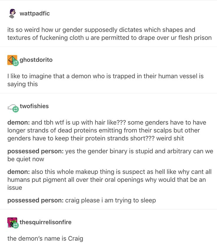 demons are non-binary confirmed (this sounds bad, the good demons are, craig is good)