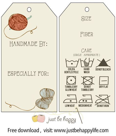 Printable care labels for crochet & knitted gifts from Just be happy!