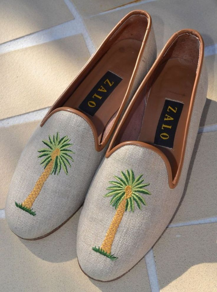 Adorable ZALO Embroidered PALM TREE Loafers Shoes 6.5 M Vintage! SPAIN #Zalo #Loafer