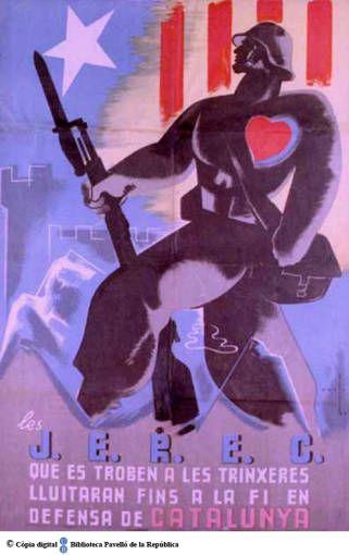 Spain - 1936. - GC - poster - Les J.E.R.E.C. que es troben a les trinxeres lluitaran fins a la fi en defensa de Catalunya :: autor - Marti - Cartells del Pavelló de la República (Universitat de Barcelona)