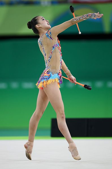 Yeon Jae Son of Korea competes during the Women's Individual AllAround Rhythmic…