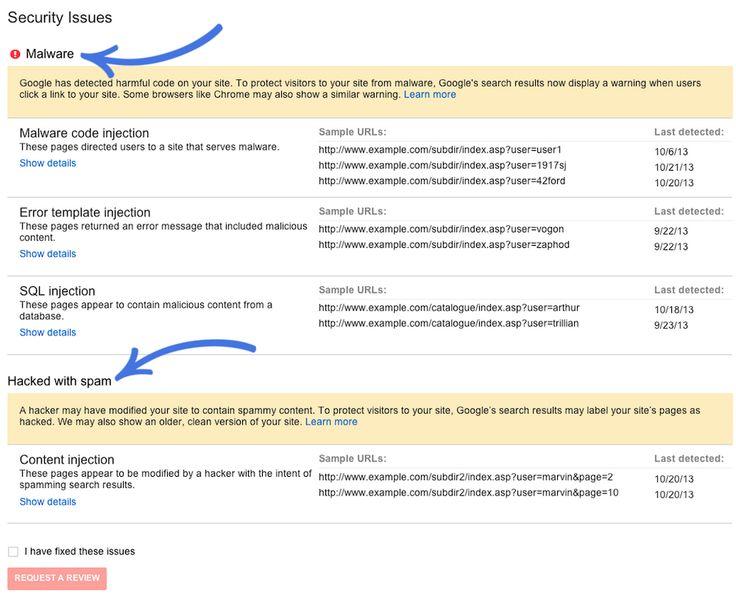 Les Google Webmaster Tools proposent une rubrique spécifique pour les sites piratés.
