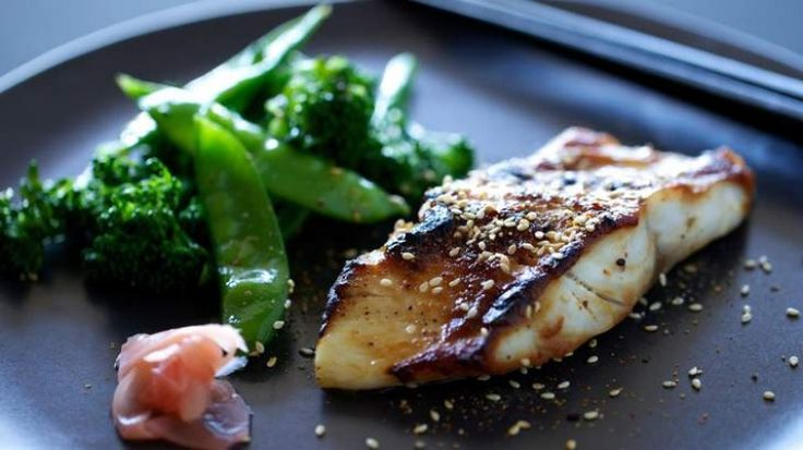 Miso cod with sesame greens