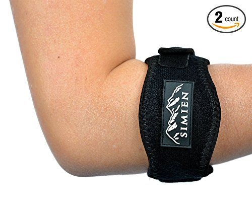 SIMIEN Tennis Elbow Brace (2-Count), Tennis & Golfer's Elbow Pain Relief with Compression Pad, Wrist Sweatband and E-Book - Get Some Relief For Your Tennis Elbow Pain! The best elbow brace/forearm band on the market that helps with: - Tennis elbow, golfer's elbow, computer or mouse elbow, rower's or rowing elbow, fishing elbow, pool or billiard elbow, luggage elbow, hammer elbow, weightlifting elbow. - Repetitive stre...