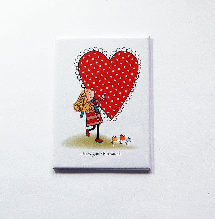 Valentines Day magnet, I love you this much, Fridge magnet, Large Magnet, ACEO, Gift for him, love, Valentines Day gift, I love you (7201) by KellysMagnets on Etsy