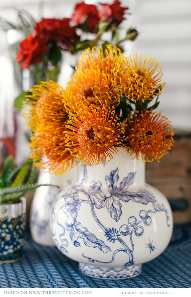 Liesel Trautman Vase + Orange pin cushions