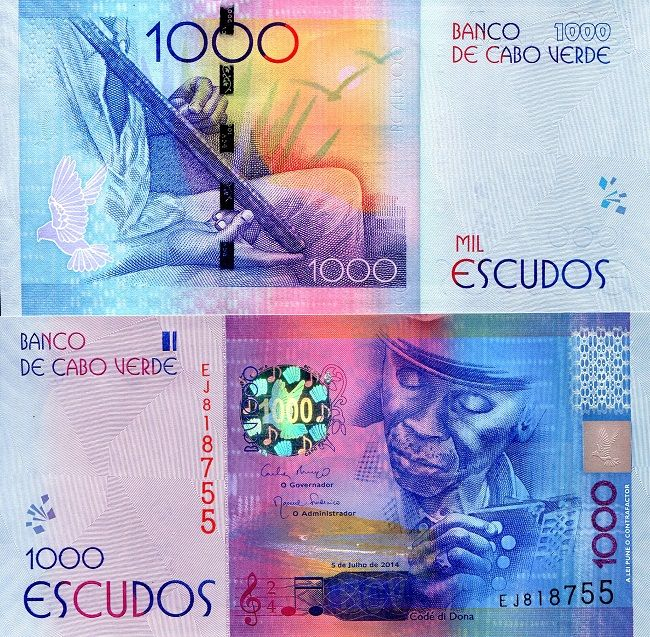 Cape Verde 1,000 Escudos   Price: $34.00 Pick #: New Year: 2014 Grade: UNC Other Info: African Currency Coloration: Multicolored Depictions: Holographic patch with musical notes; bird in flight; vine; seashore; composer - musician Codde Dona (aka: Gregio Vaz) playing accordion; musician holding ferrinho - musical instrument Continent: Africa Watermark: Codde Dona
