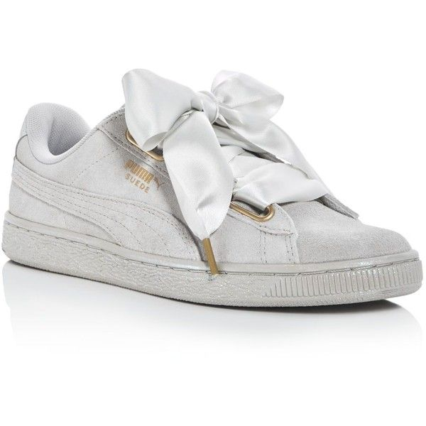 Puma Women's Heart Satin Bow Lace Up Sneakers ($80) ❤ liked on Polyvore featuring shoes, sneakers, grey, glitter sneakers, heart shoes, puma footwear, gray shoes and heart sneakers