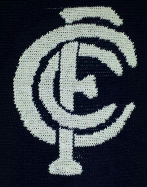 Carlton football club blanket crochet