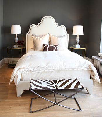 Attractive Dark Walls + Upholstered Headboard + Zebra Bench. Oly Studios. Nice Ideas
