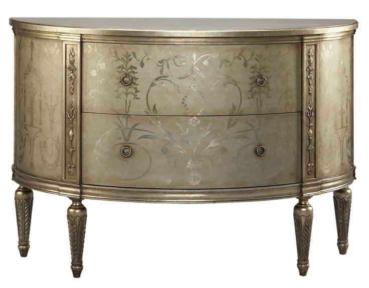 Attractive Lillian August Fine Furniture Classics Melrose Demilune 56w 22.5d 38h