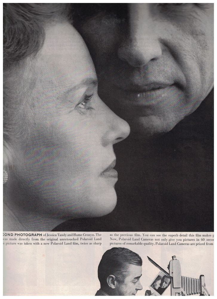 Jessica Tandy & Hume Cronyn Close Up in 1959 60 Second Polaroid Land Camera Ad #Polaroid