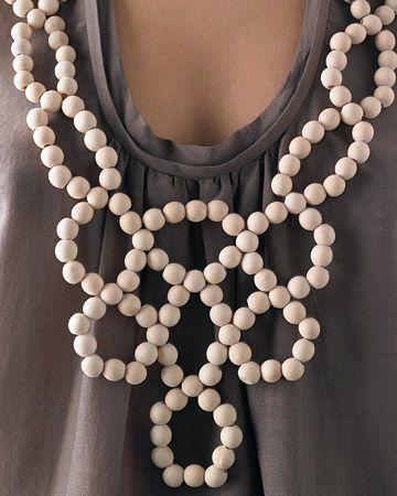 DIY Bib Necklace made from wooden beads.