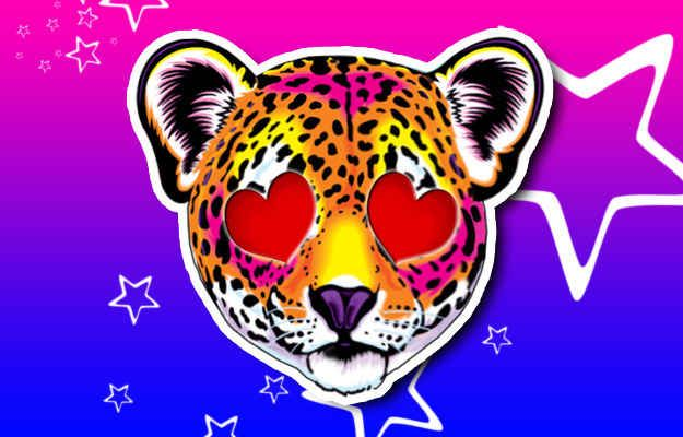 Smiling Cute Leopard Face With Heart-Shaped Eyes: