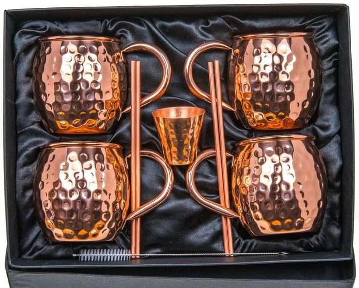 Moscow Mule Barrel Copper Mugs w/ Gift Set of 4 (Hammered, Copper Handle)
