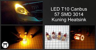 Takekimurah: LED T10 Canbus 57 SMD 3014 Kuning Heatsink