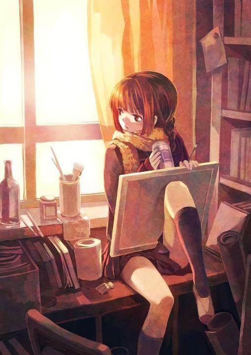 ✮ ANIME ART ✮ anime. . .artist. . .painter. . .art supplies. . .canvases. . .school uniform. . .drink. . .sunlight. . .in contemplation. . .cute. . .kawaii