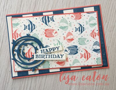Lisa Eaton | Happy 50th Blog Hop! | Stampin' Up! | By The Shore | Swirly Scribbles | Guy Greetings