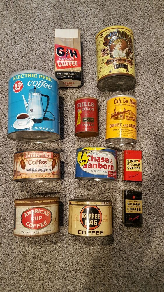 Lot Vintage Antique Tins cans, Coffee, America's Cup, Butternut, Kaffee Hag #Assorted