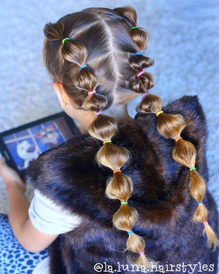 Cute Girls hairstyle. Kids hair braids. School hair. Easy hairstyles. Bubble bra…