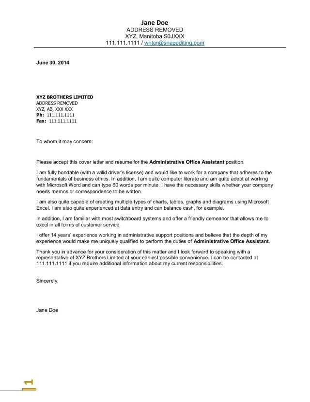 25+ Office Assistant Cover Letter | Cover Letter Examples For Job ...