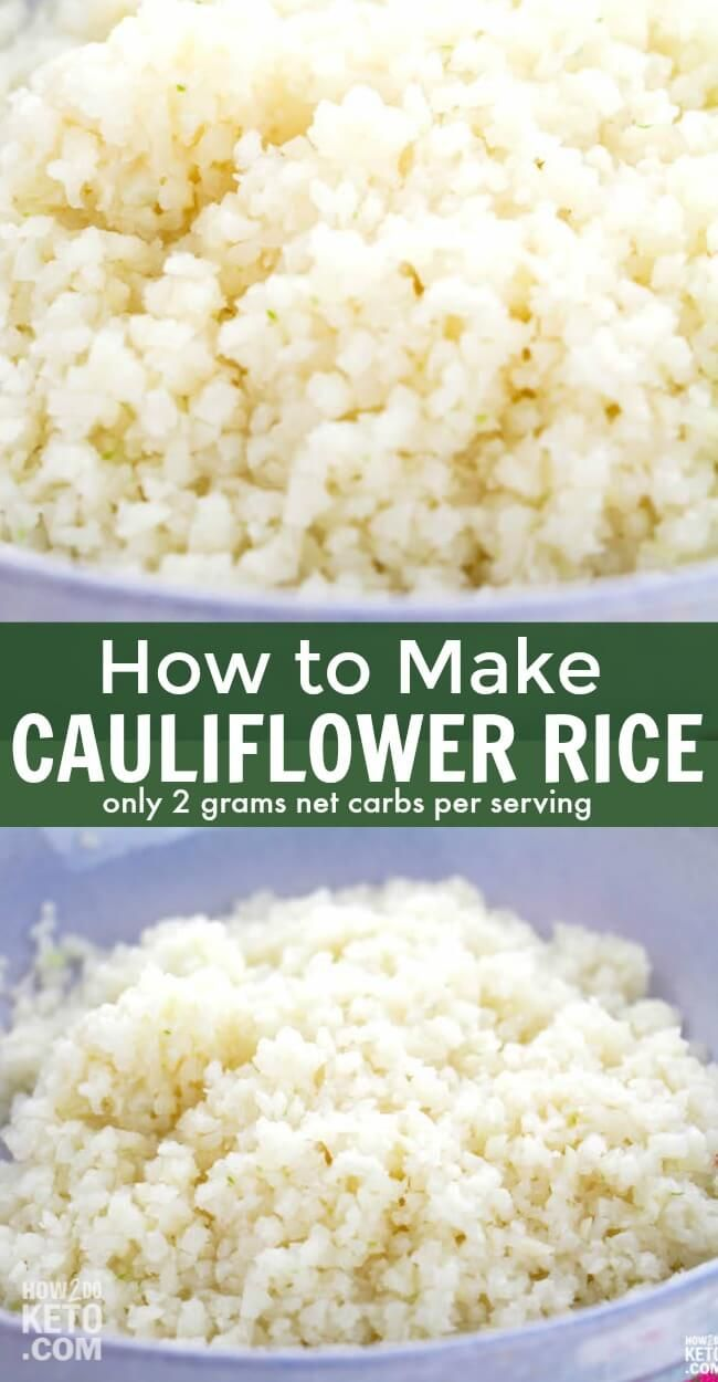Easy Cauliflower Rice 2g Net Carbs Recipe Easy Cauliflower Rice Recipe Cauliflower Rice Easy Low Carb Side Dishes