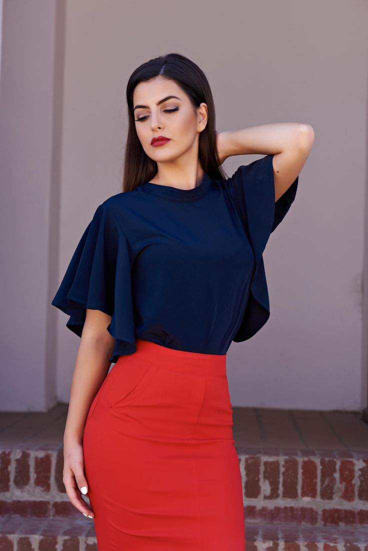 """PrettyGirl Chic Design DarkBlue Blouse, airy fabric, """"butterfly"""" type sleeves…"""