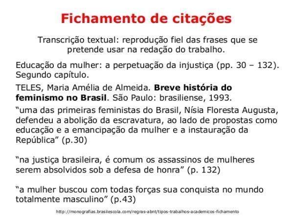 Exemplo de fichamento de citações.  (Foto: Reprodução/Brasil Escola)