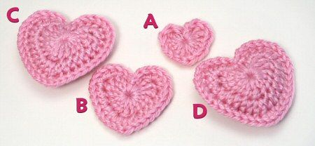 Crochet hearts in different sizes