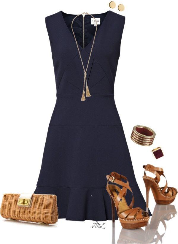 Vestido Azul marino, combinado con complementos marrones